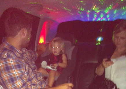 In the limo on the way home - you loved those disco lights