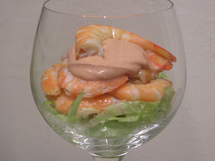I didn't take a picture of the crab cocktails because we were starving. Here's a home-made prawn cocktail instead.