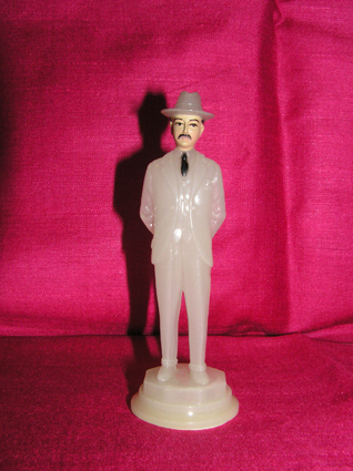 This is Senor Hernandez, the Patron Saint of Dodgy Deals. Like all saints worth their salt, he glows in the dark. He was bought for me by your Mum many years ago and sits next to my computer, watching over me with his beady black eyes.